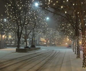 snow, lights, and winter image