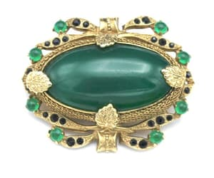 Green Austria  Brooch gold plated metal leaf Green  Rhinestone image 0