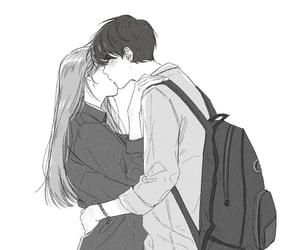 black and white, boy and girl, and kawaii image