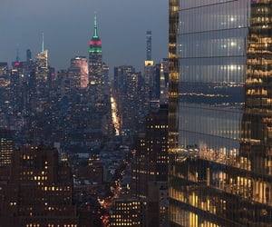 buildings, city lights, and nyc image