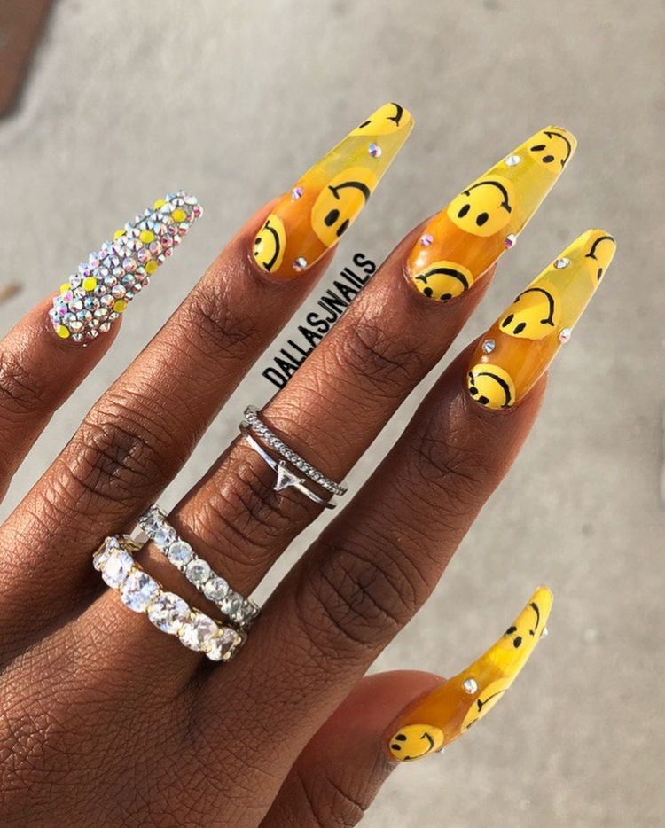 nails, yellow, and acrylic image