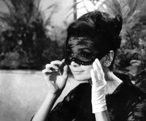 audrey hepburn, black and white, and mask image