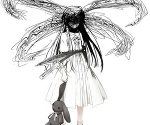 anime, black and white, and goth image