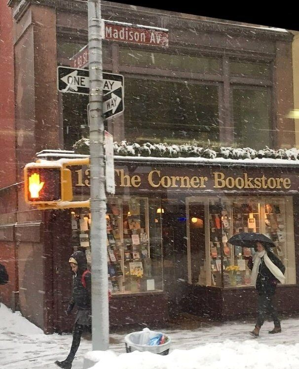 snow, bookstore, and winter image