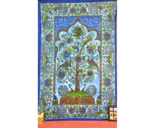 wall decor, tree of life tapestry, and blue tapestry image