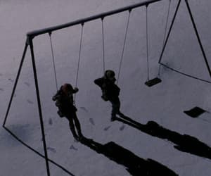 snow, grunge, and swing image
