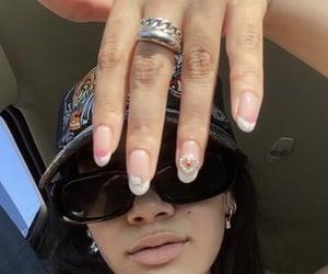 hello kitty, nails, and sunglasses image