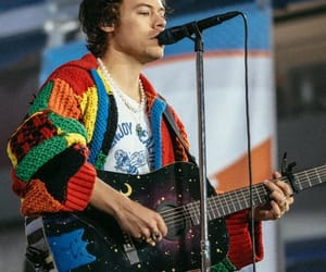 guitar, sweater, and Harry Styles image