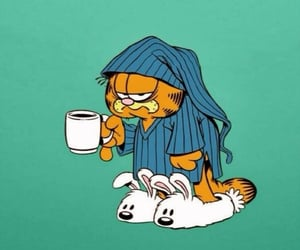 cat, garfield, and coffee image
