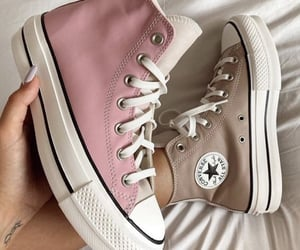 sneakers, beige, and converse image