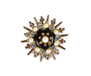 Atomic Starburst Brooch Pin In Gold Tone With Faux Pearls And image 0