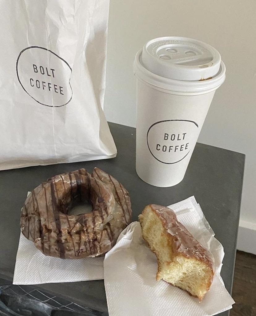 caffeine, coffee, and doughnut image