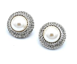 Christian Dior Earrings  white pearl clear rhinestone   silver image 0