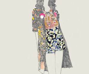 drawing, floral, and fashion illustration image