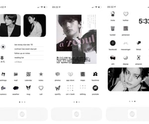 aesthetic, black and white, and icons image
