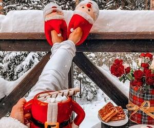 christmas, snow, and santa claus image