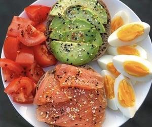 avocado, salmon, and eggs image