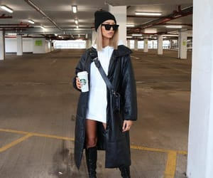 black coat, blogger, and chunky boots image