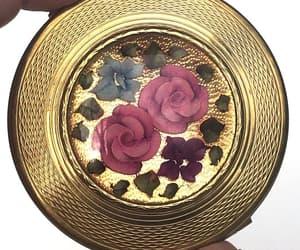 Vintage Compact KIGU LONDON Lucite  Reverse Carved Floral image 0
