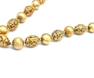 bead necklace, etsy, and gold plated image
