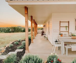 beautiful, porch, and sunset image
