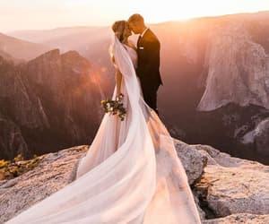 bride, kiss, and wedding image