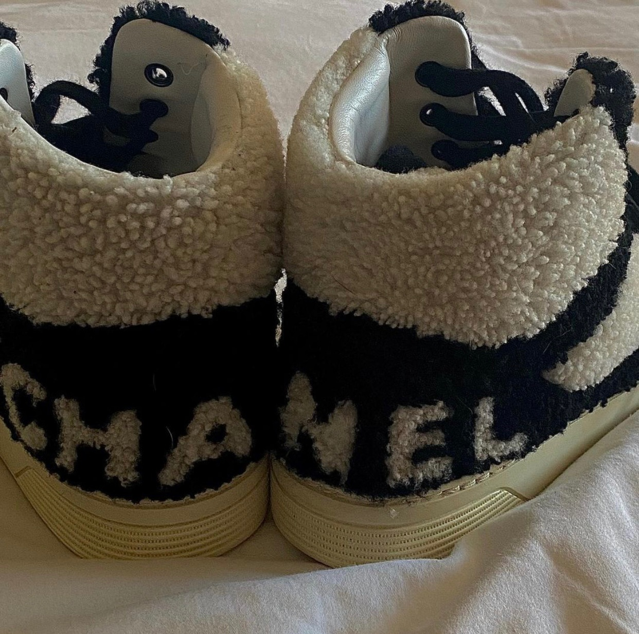 black and white, sneakers, and chanel image