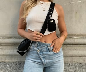 bag, gold, and jeans image