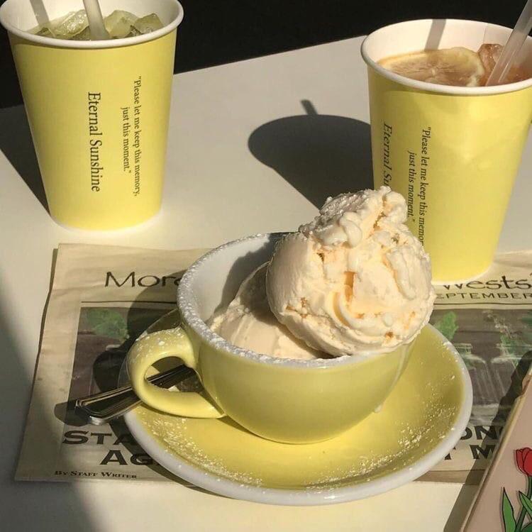 yellow, aesthetic, and ice cream image