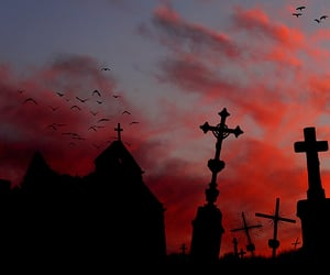 cemetery, dusk, and crosses image