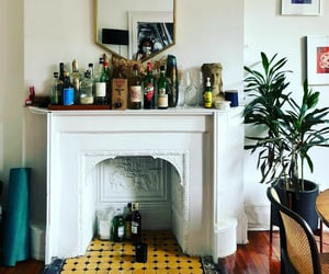 brownstone, decor, and fireplace image