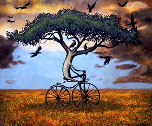 tree, bike, and art image