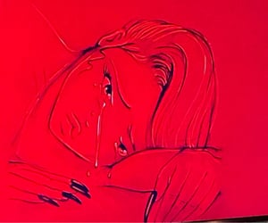 cry, girl, and red image