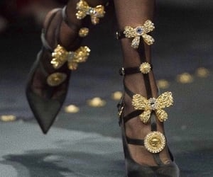 gold, shoes, and Versace image