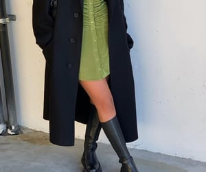 black coat, green dress, and knee high boots image