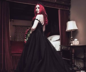 black dress, flowers, and hair image