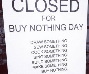 buy nothing, buy nothing day, and black friday deals image