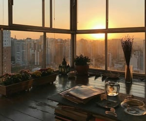 sunset, city, and home image