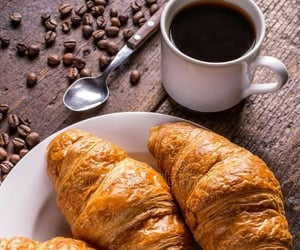 cafe, croissant, and coffee image