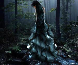 dark, girl, and forest image