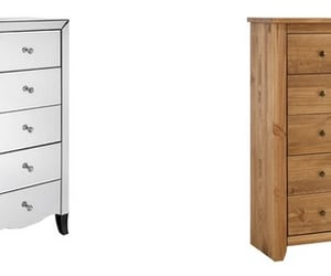 oak chest of drawers and mirrored chest of drawers image