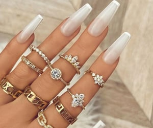 White Nailpaint and Rings