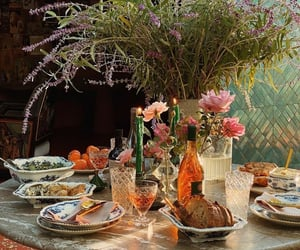 dinner, dinner table, and feast image