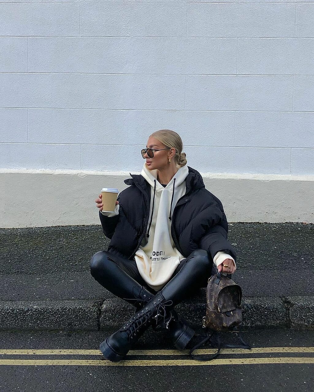 blogger, chunky boots, and coffee image