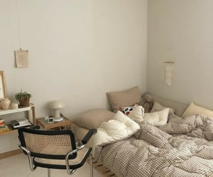 background, bedroom, and beige image