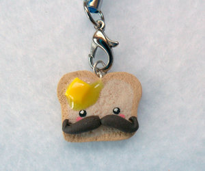 mustache, polymer clay charm, and kawaii toast image
