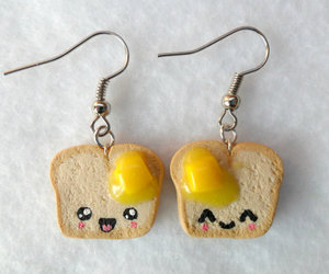 bread and butter, polymer clay charms, and cute earrings image