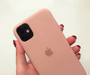 apple, baby pink, and iphone image
