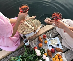 drink, flowers, and picnic image