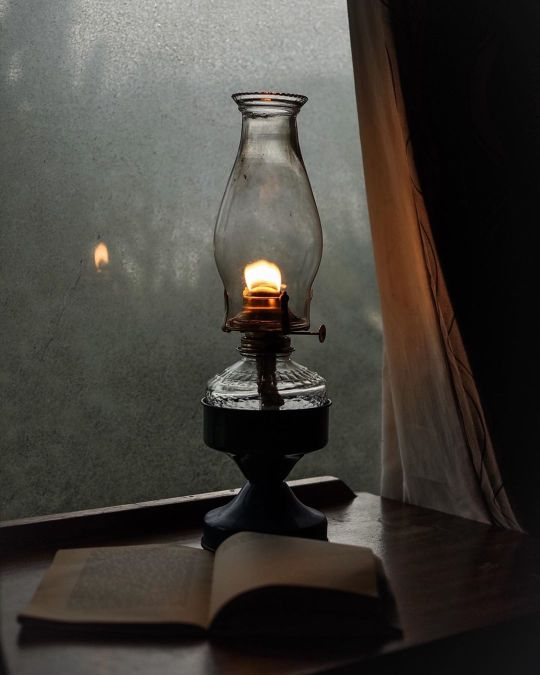 lamp, book, and lights image